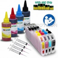 Refillable Extra-Large (Prefilled) Cartridges for Brother LC103 LC105 LC107 LC101 LC109 with Auto Reset Chips and 4 X 100ml