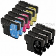 Brother Compatible LC61 Set of 10 Ink Cartridges: 4 Black & 2 each of Yellow / Cyan / Magenta