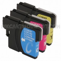 Brother Compatible LC61 Set of 3 Ink Cartridges: 1 Yellow 1 Cyan 1 Magenta