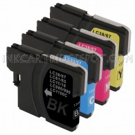 Brother Compatible LC61 Set of 4 Ink Cartridges: 1 Black & 1 each of Yellow / Cyan / Magenta