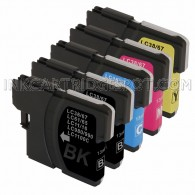 Brother Compatible LC61 Set of 5 Ink Cartridges: 2 Black & 1 each of Yellow / Cyan / Magenta