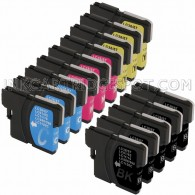 Brother Compatible LC61 Set of 20 Ink Cartridges: 8 Black & 4 each of Yellow / Cyan / Magenta