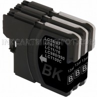 3 Pack Brother Compatible LC61Bk Black Ink cartridges