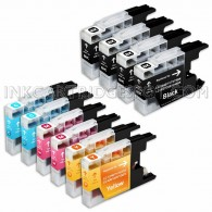 Compatible Brother LC75/LC71 Series (Combo Pack of 10) High Yield Inkjet Cartridges: 4 Black, 2 Cyan, 2 Magenta, 2 Yellow