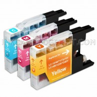 Compatible Brother LC75/LC71 Series (Combo Pack of 3) High Yield Inkjet Cartridges 1 Cyan, 1 Magenta, 1 Yellow