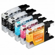 Compatible Brother LC75/LC71 Series (Combo Pack of 5) High Yield Inkjet Cartridges, 2 Black, 1 Cyan, 1 Magenta, 1 Yellow