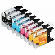 Compatible Brother LC75/LC71 Series (Combo Pack of 8) High Yield Inkjet Cartridges: 2 Black, 2 Cyan, 2 Magenta, 2 Yellow