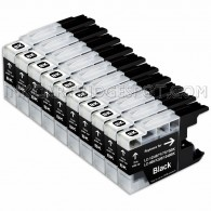 10 Pack Brother Compatible LC75BK/LC71BK High Yield Black Ink Cartridges