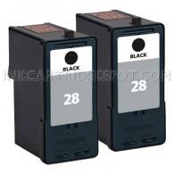 2 Pack Lexmark 28 18C1528 (#28) Black Inkjet Cartridge