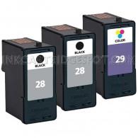 Lexmark #28, #29 Set of 3 Ink Cartridges Includes: 2 18C1528 Black, and 1 18C1529 Color