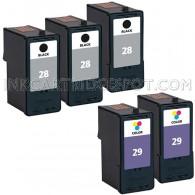 Lexmark #28, #29 Set of 5 Ink Cartridges Includes: 3 18C1528 Black, and 2 18C1529 Color