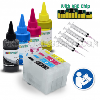 INKUTEN - 4 Easy-to-refill T200 Cartridges With Resettable Chips Syringes & Needles and 4x100ml Sublimation ink (for sublimation printing only)