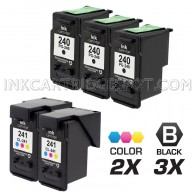 Canon PG240 and CL241 Set of 5 Compatible Ink Cartridges: Includes 3 Black and 2 Color Cartridge