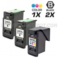 Canon PG240XL and CL241XL Set of 3 Compatible High Yield Ink Cartridges: Includes 2 Black and 1 Color Cartridge
