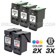 Canon PG240XL and CL241XL Set of 5 Compatible High Yield Ink Cartridges: Includes 3 Black and 2 Color Cartridge