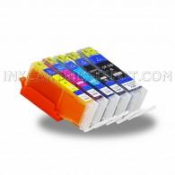 5 Pack Edible Ink Cartridge Replacement for Canon PGI 250 XL PGI-250 CLI 251 XL CLI-251 (1 Big BK, 1 BK, 1 C, 1 M, 1 Y)