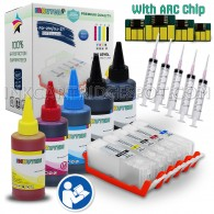 5 Refillable Cartridges for Canon PGI-250XL CLI-251XL PGI-250 CLI-251 PGI 250 CLI 251 with 5x100ml Dye ink, Auto Reset Chips (ARC)