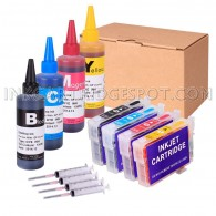 4 Refillable Cartridges for EPSON 125 T125 T1251 T1252 T1253 T1254 with 4x100ml Dye ink, Auto Reset Chips (ARC)