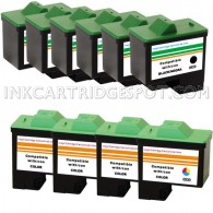10 Pack : DELL T0529 & T0530 Compatible - 6 Black & 4 Color High Capacity Ink Cartridges