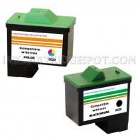 2 Pack : DELL T0529 & T0530 Compatible - 1 Black & 1 Color High Capacity Ink Cartridges