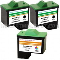 3 Pack : DELL T0529 & T0530 Compatible - 2 Black & 1 Color High Capacity Ink Cartridges
