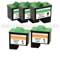 5 Pack : DELL T0529 & T0530 Compatible - 3 Black & 2 Color High Capacity Ink Cartridges