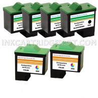 6 Pack : DELL T0529 & T0530 Compatible - 4 Black & 2 Color High Capacity Ink Cartridges
