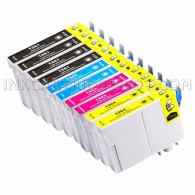 Replacement Epson T126 Set of 10 High Yield Ink Cartridges: 4 Black (T1261) & 2 Cyan (T1262), 2 Magenta (T1263), 2 Yellow (T1264)