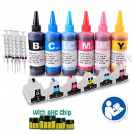 INKUTEN 6 EMPTY Refillable Cartridges for HP 02 Easy-to-refill with 6x100ml Dye ink, Resettable Chips, Syringes & Needles