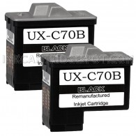 2 Pack Sharp UX-C70B Compatible Black Ink Cartridges