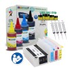 4 Refillable Cartridges for HP 952XL with 4x100ml Dye Ink, Auto Reset Chips